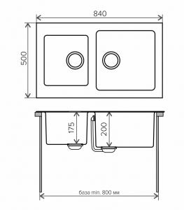 Комбинированная кухонная мойка TOLERO TWIST TTS-840 коричневая код 101589-817