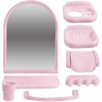 """Зеркальный набор для ванной комнаты """"Елена МХ"""" розовый 1/6 код 100853-5"""