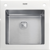 Комбинированная мойка TOLERO CERAMIC GLASS TG-500 белое стекло код 101569