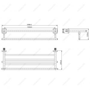 Полка для полотенец MELANA сатин хром MLN-862003 код 101457