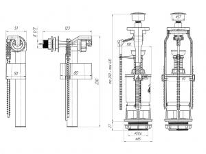 Арматура 1-уровеневая, боковой подвод Ани Пласт WC6050M код 101464