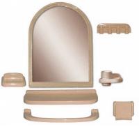 """Зеркальный набор для ванной комнаты """"Елена МХ"""" кремовый 1/6 код 100853-2"""