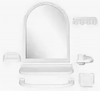 """Зеркальный набор для ванной комнаты """"Елена МХ"""" белый 1/6 код 100853-4"""