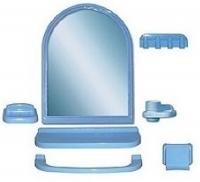 """Зеркальный набор для ванной комнаты """"Елена МХ"""" голубой 1/6 код 100853-3"""