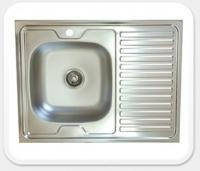 Мойка для кухни накладная KromRus 800х600х0,4мм левая код 002351