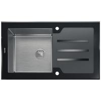 Комбинированная мойка TOLERO CERAMIC GLASS TG-860 черное стекло код 100422