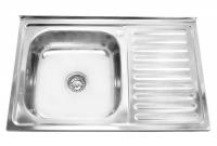 Мойка для кухни накладная Milani 800х500х0,6мм левая код 100038