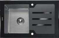 Комбинированная мойка TOLERO CERAMIC GLASS TG-780 черное стекло код 100964