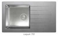 Комбинированная кухонная мойка TOLERO TWIST TTS-860 серая код 101590-701