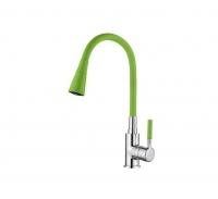 Смеситель для кухни с силиконовым изливом зеленый Accoona A9890K-1 код 102000
