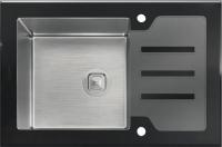 Комбинированная мойка TOLERO CERAMIC GLASS TG-660 черное стекло код 100421