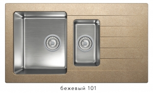 Комбинированная кухонная мойка TOLERO TWIST TTS-890K бежевая код 101855-101