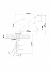 Смеситель для кухни с выдвижной лейкой Florentina Сигма FL антрацит код 101677