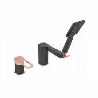 Смеситель на борт ванны на 3 отверстия с керамическим дивертором, черный, Slide, IDDIS, SLIBG30i07 код 101031