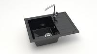 Кварцевая мойка для кухни Bergg Z150 черная код 100566